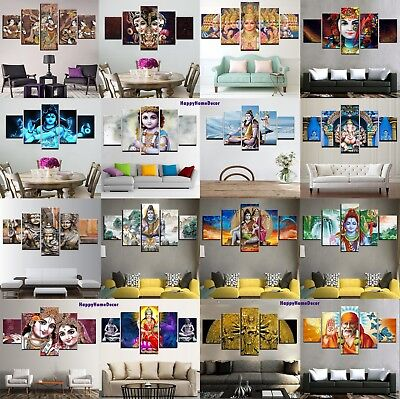 Hindu Gods Painting 5pcs Canvas Print Vishnu Poster Wall Art Shiva Picture Decor