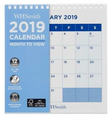 WHSmith Commercial Square Desk Calendar 2019 Month to View