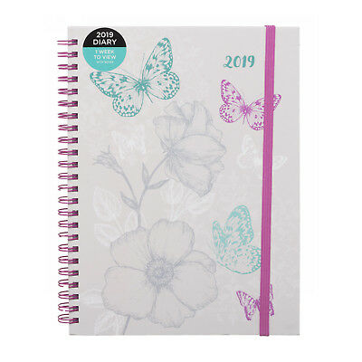 WHSmith 2019 B5 Teal Busy Bee Diary Week to View Wiro Bound