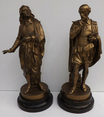 """Antique Pair of Bronzed Spelter Figures Of Shakespeare & Milton 18.5"""" Tall"""