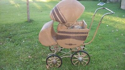 Vintage Thayer Wicker Baby Buggy Stroller Carriage Doll Antique