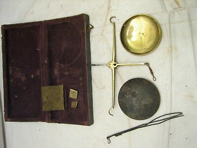 Antique Brass Apothecary Pharmaceutical Scale Gold w/Weights & Box C