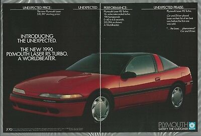 1990 PLYMOUTH LASER 2-page advertisement, Chrysler ad, Laser RS Turbo