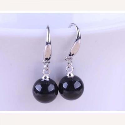 New Silver Plated 10mm Black Onyx Agate Round Bead Ball Hook Dangle Earrings