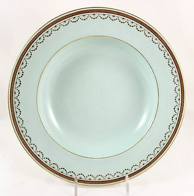 2 Antique Rim Soup Bowl Minton Bone China Raised Gold Encrusted Light Blue Green
