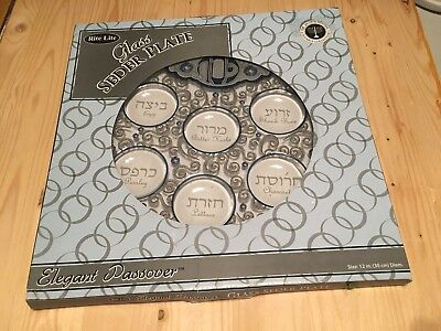 Glass Seder Plate – 12 Inches – Elegant Passover – Rite Lite– New