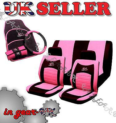 15pc Girly RACING Car Seat Cover Set Wheel Glove Covers Pads Mats UNIVERSAL PINK