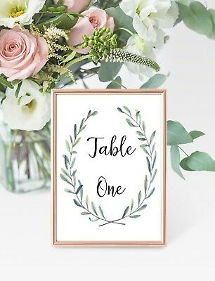 Greenery Wreath Wedding Table number cards A6 - price per card