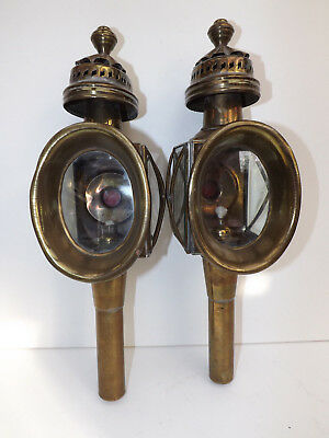 Antique Br Pair Of Car Lamps Carriage Buggy Lanterns Oil
