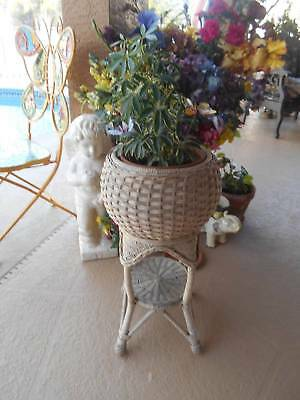 "vintage WICKER PLANT STAND with bottom shelf 24 1/2"" tall neutral beige color"