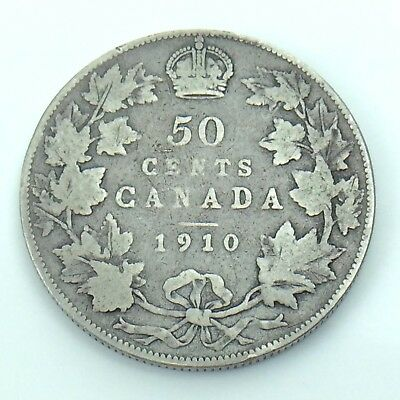 1910 Edwardian Leaves Canada 50 Fifty Cent Half Dollar Circulated Coin H348
