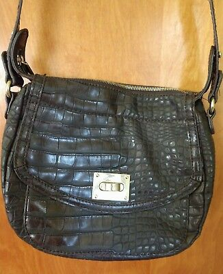 Liz Claiborne Handbag Purse Crossbody Brown Faux Crocodile/Alligator