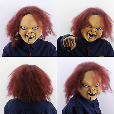 Halloween Latex Wig Maske Gesicht mit Haaren Scary Ghost Full Head Party Kostüm