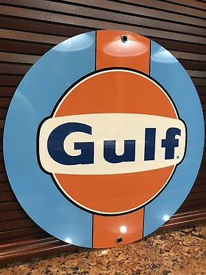 Gulf racing advertising sign oil gas porsche ford Round Metal