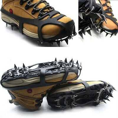 Ice Snow Climbing Walking Boot Shoe Cover Spike Cleats Crampons Gripper UK