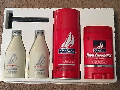 NEW Vintage Shulton Old Spice Gift Set Aftershave Cologne Deodorant Shave Cream