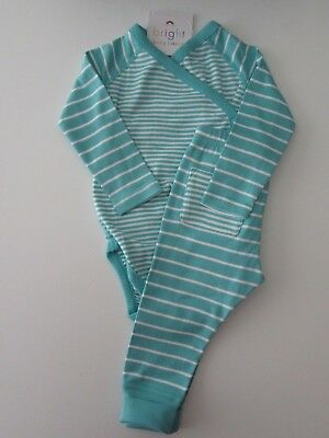 HANNA ANDERSSON Organic Crossover Creeper Tee Wiggle Pant Set Surf 75 12-18 NWT