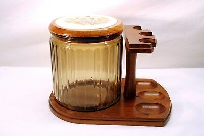 **Beautiful** Glass Humidor w/Wood & Porcelain Top in 3 Pipe Wooden Stand