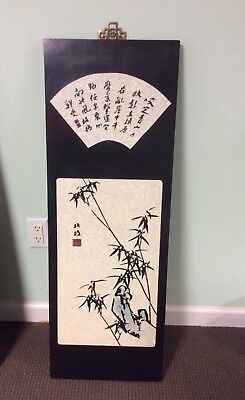 Chinese art decoration, diamond sand and hand engraved and painted lacquer panel