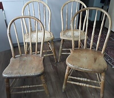 4 American Country/Primitive hoop back chairs from late 1800s Hand-Made
