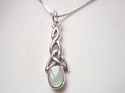 US Jewels And Gems 1.5in 0.925 Sterling Silver Irish Celtic Knot Cross Pendant MOP
