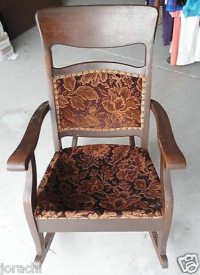 Circa; Early 1900's Antique Upholstered Rocking Chair,   Needs Springs