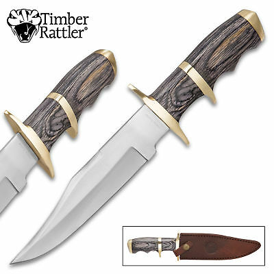 "12"" Timber Wood Hunting Survival Skinning Fixed Blade Knife Full Tang Army Bowie"