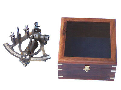 "Sextant 6"" Antique Brass Finish w/ Wooden Display Case Nautical Desktop Decor"