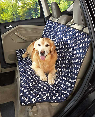 Pet Seat Cover for Dogs Cats Car Blanket Quilted Water Resistant Paw Prints