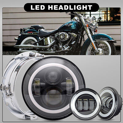 Fit Harley Heritage Softail Classic 7 INCH LED Daymaker Headlight& Passing Lamps