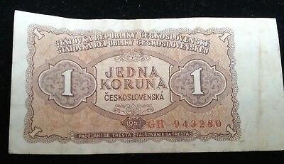 1953 Czech Small Banknote - 1 KORUNA - Scarce CIRC note w Good edges collectible