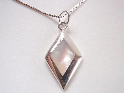 Small Mother of Pearl Diamond-Shaped 925 Sterling Silver Necklace