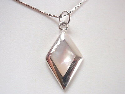 Small Mother of Pearl Diamond-Shaped 925 Sterling Silver Pendant