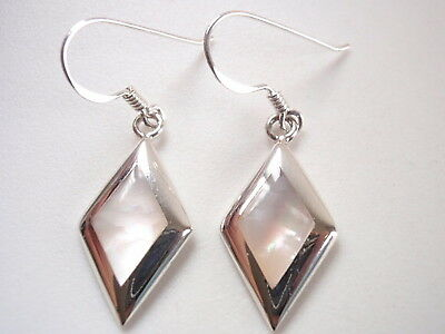 Small Diamond-Shaped Mother of Pearl 925 Sterling Silver Dangle Earrings