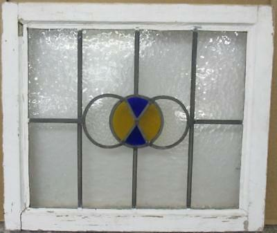 """MID SIZE OLD ENGLISH LEADED STAINED GLASS WINDOW Circular Design 23.25"""" x 19.75"""""""