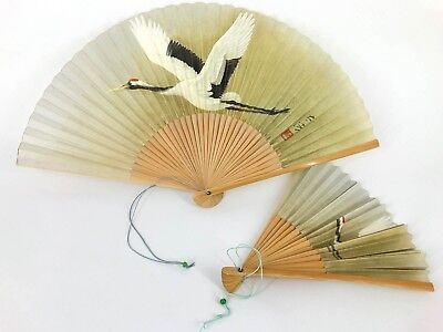 Vintage Japanese Flying Crane 'Sensu' Folding Fan Set for a Man & Woman: Oct18C