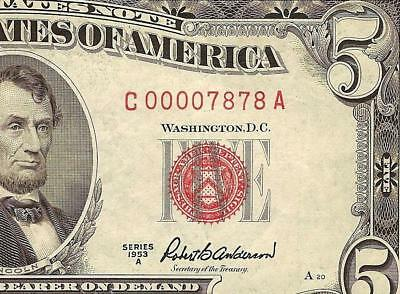 1953 A $5 Dollar Bill Low 78 Repeater United States Legal Tender Red Seal Note