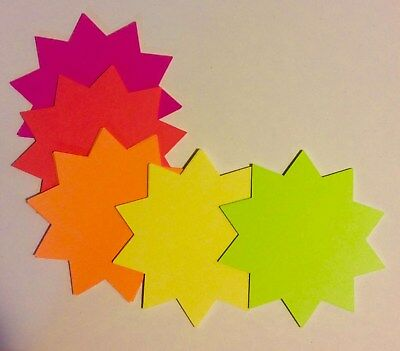 """4""""x4"""" Round 100pk Fluorescent Starburst Price Neon Retail Tags Cards Signs NEW"""