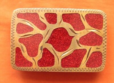 Vintage Hand Made Red Inlay Brass Front Nickel Back Western Belt Buckle