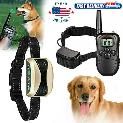 Waterproof Dog Training Shock Collar Remote Rechargeable E Collar for 1 or 2 Dog