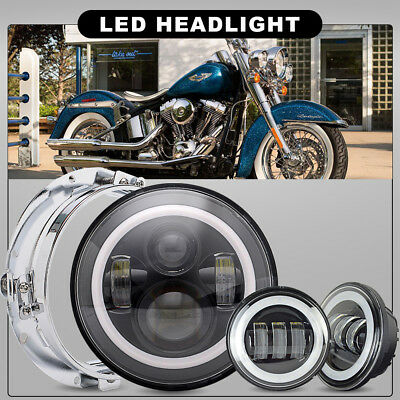 Fit Harley Heritage Softail Classic 7 INCH LED Daymaker Headlight& Passing Light