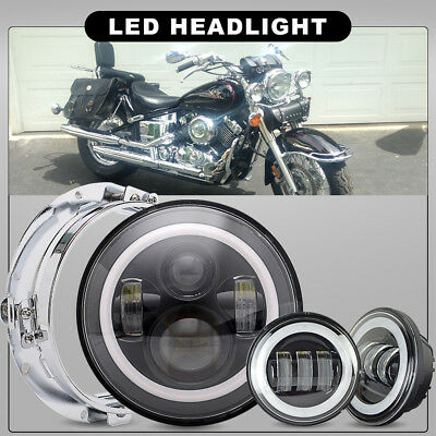 """Fit Harley Heritage Softail Classic 7"""" LED Projector Headlight& Passing Lamps"""