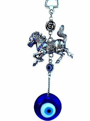 Blue Evil Eye with Tribute Horse Hanging Decoration Ornament (With a Bett... New