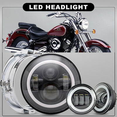 """Fit Harley Heritage Softail Classic 7"""" LED Projector Headlight& Passing Light"""