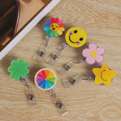 Fashion Cute Cartoon Retractable Badge Reel Pull Key ID Name Card Badge Holder