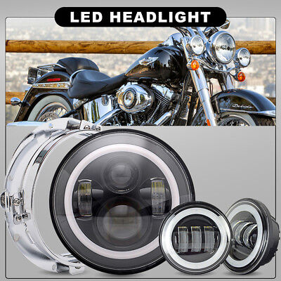 """For Harley Heritage Softail Classic 7"""" LED Projector Headlight& Passing Light"""