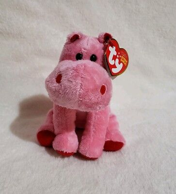 57c83992eb7 TY Beanie Baby - BIG KISS the Pink Hippo (6 inch) - Stuffed Animal