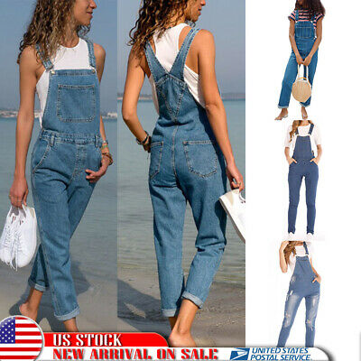 Womens Straps Denim Jeans Bib Pants Overalls Rompers Trousers US Casual Jumpsuit