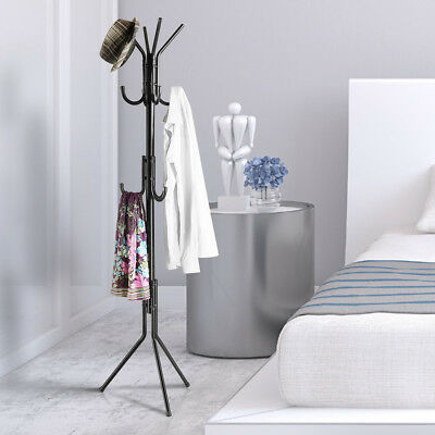 3-Tier Metal Coat Rack Bag Clothes Holder Rack Hall Tree Stand 11 Hook Household