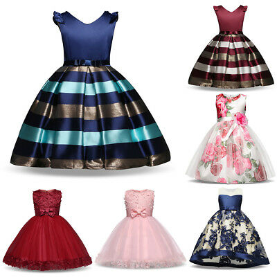 Stripe Girl Dress Long Formal Swag Gown Princes Kid Party Wedding Bridesmaid